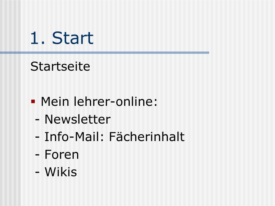 1. Start Startseite Mein lehrer-online: - Newsletter - Info-Mail: Fächerinhalt - Foren - Wikis