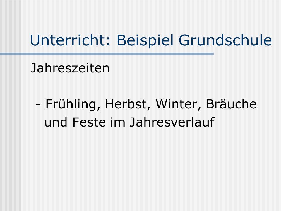 Unterricht: Beispiel Grundschule Jahreszeiten - Frühling, Herbst, Winter, Bräuche und Feste im Jahresverlauf