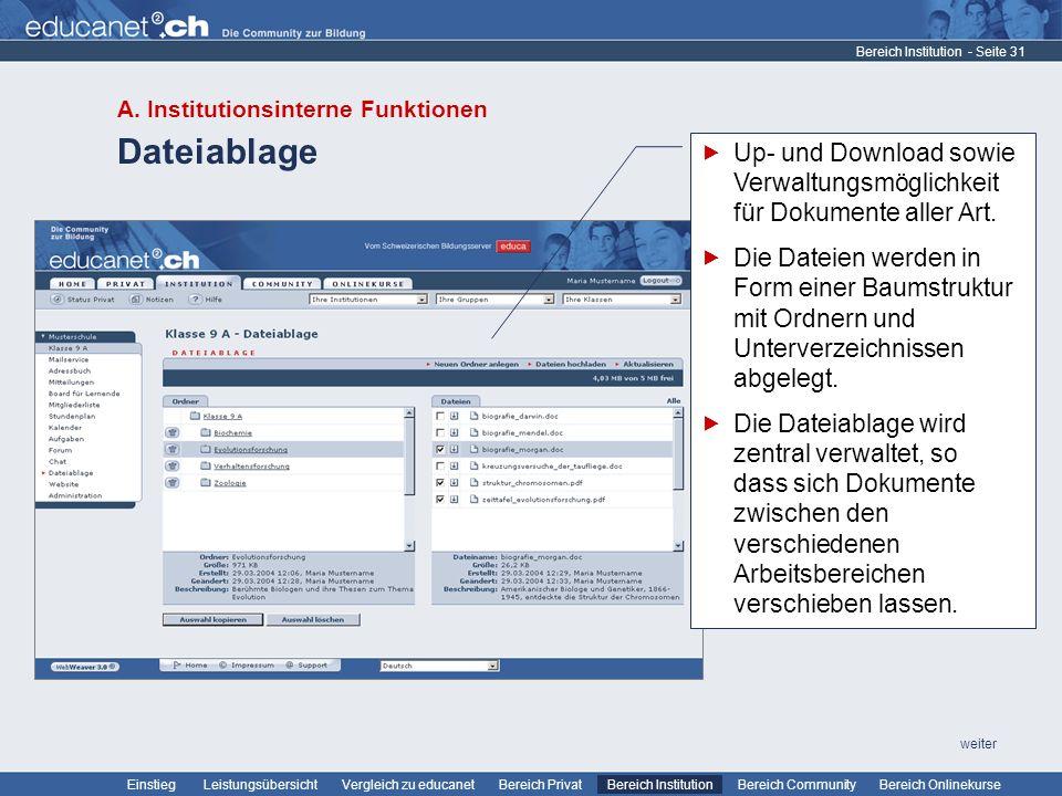 - Seite 31 Leistungsübersicht Vergleich zu educanetBereich PrivatBereich Institution Bereich CommunityEinstiegBereich Onlinekurse weiter Dateiablage B