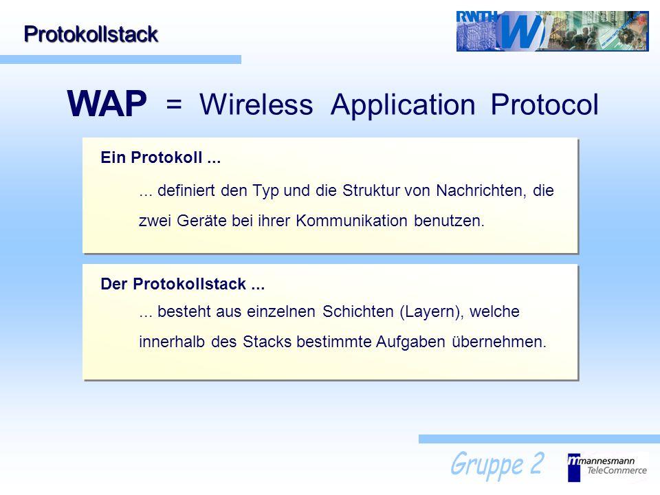 Protokollstack WAP = WirelessApplicationProtocol Ein Protokoll...... definiert den Typ und die Struktur von Nachrichten, die zwei Geräte bei ihrer Kom