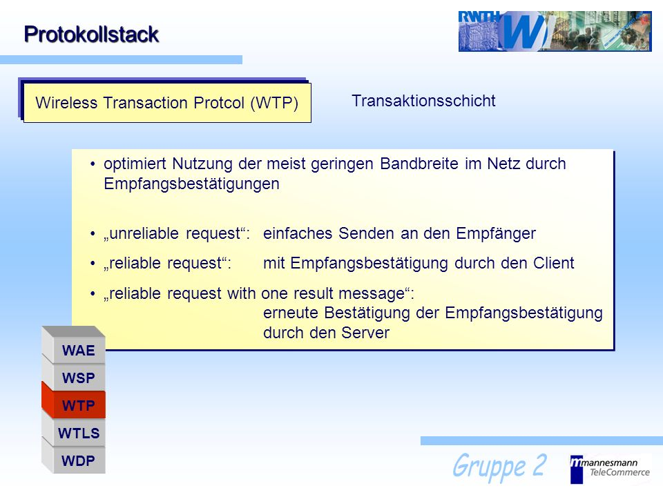 Protokollstack Wireless Transaction Protcol (WTP) Transaktionsschicht optimiert Nutzung der meist geringen Bandbreite im Netz durch Empfangsbestätigun