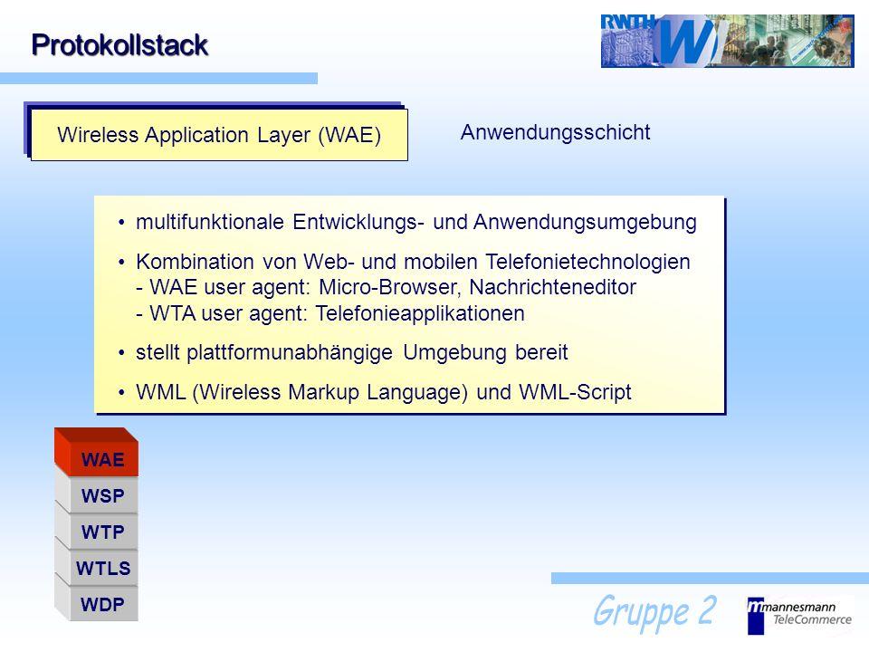 Protokollstack Wireless Application Layer (WAE) Anwendungsschicht multifunktionale Entwicklungs- und Anwendungsumgebung Kombination von Web- und mobil