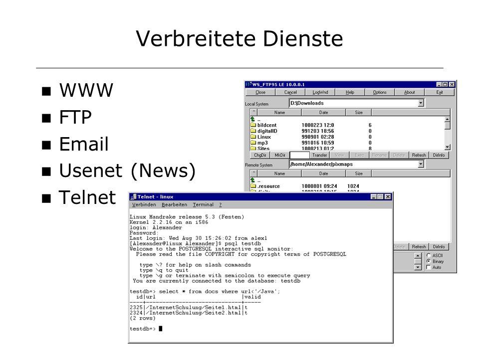 Verbreitete Dienste WWW FTP Email Usenet (News) Telnet