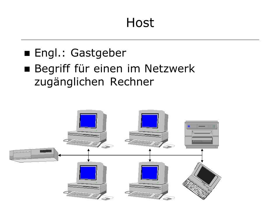 Host Engl.: Gastgeber Begriff für einen im Netzwerk zugänglichen Rechner