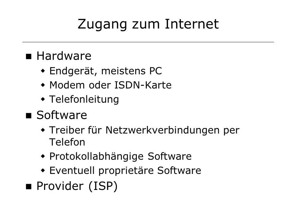 Zugang zum Internet Hardware Endgerät, meistens PC Modem oder ISDN-Karte Telefonleitung Software Treiber für Netzwerkverbindungen per Telefon Protokol