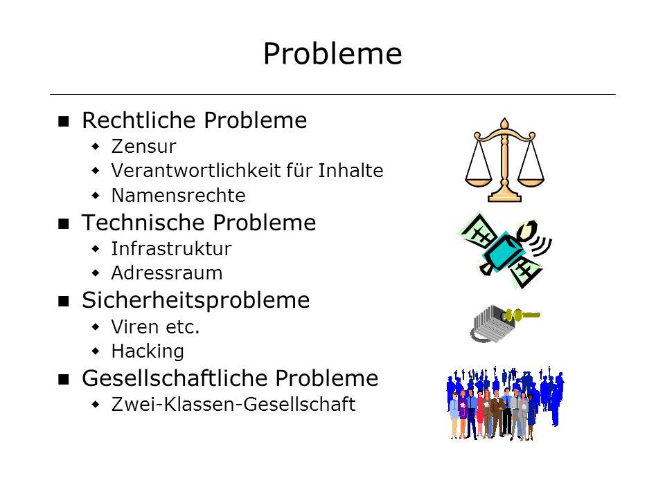 Probleme Rechtliche Probleme Zensur Verantwortlichkeit für Inhalte Namensrechte Technische Probleme Infrastruktur Adressraum Sicherheitsprobleme Viren