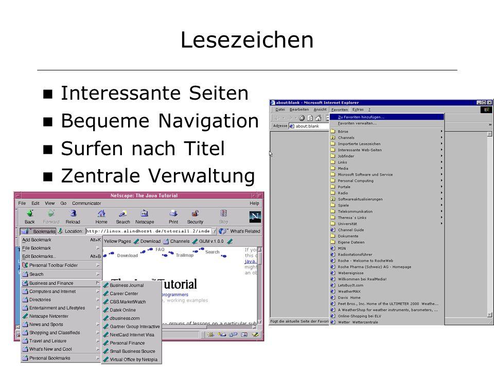 Lesezeichen Interessante Seiten Bequeme Navigation Surfen nach Titel Zentrale Verwaltung