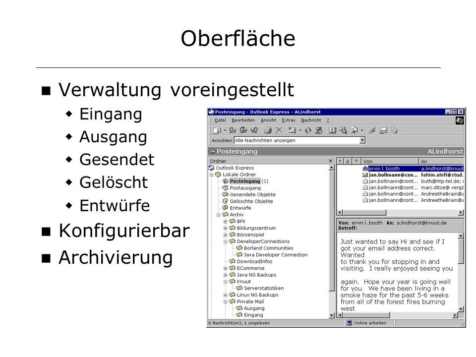 Oberfläche Verwaltung voreingestellt Eingang Ausgang Gesendet Gelöscht Entwürfe Konfigurierbar Archivierung
