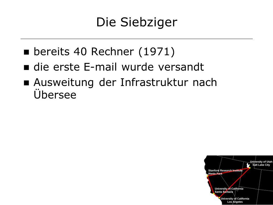 Die Achtziger Integration technisch unterschiedlicher Systeme durch Protokolldefinition Einbezug vieler weiterer Netze Englisch: interneted 1982 wird daraus Internet Erster Domänenname: symbolics.com nicht kommerziell 1989:Grundstein für das World Wide Web (WWW) durch CERN