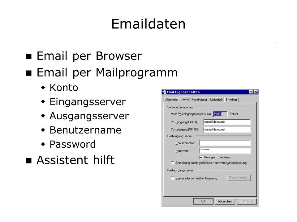 Emaildaten Email per Browser Email per Mailprogramm Konto Eingangsserver Ausgangsserver Benutzername Password Assistent hilft