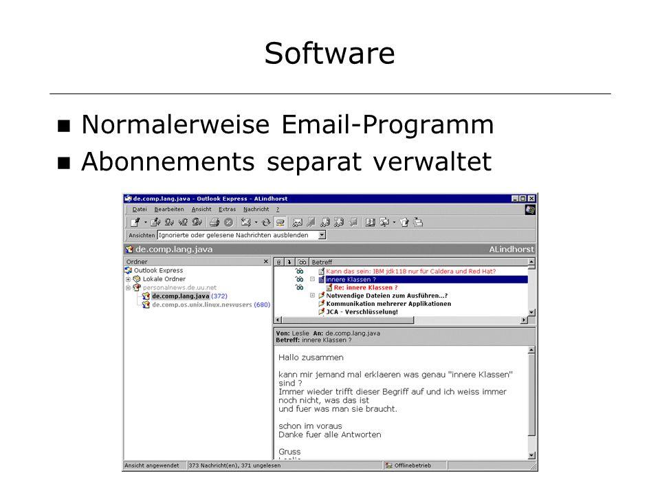Software Normalerweise Email-Programm Abonnements separat verwaltet