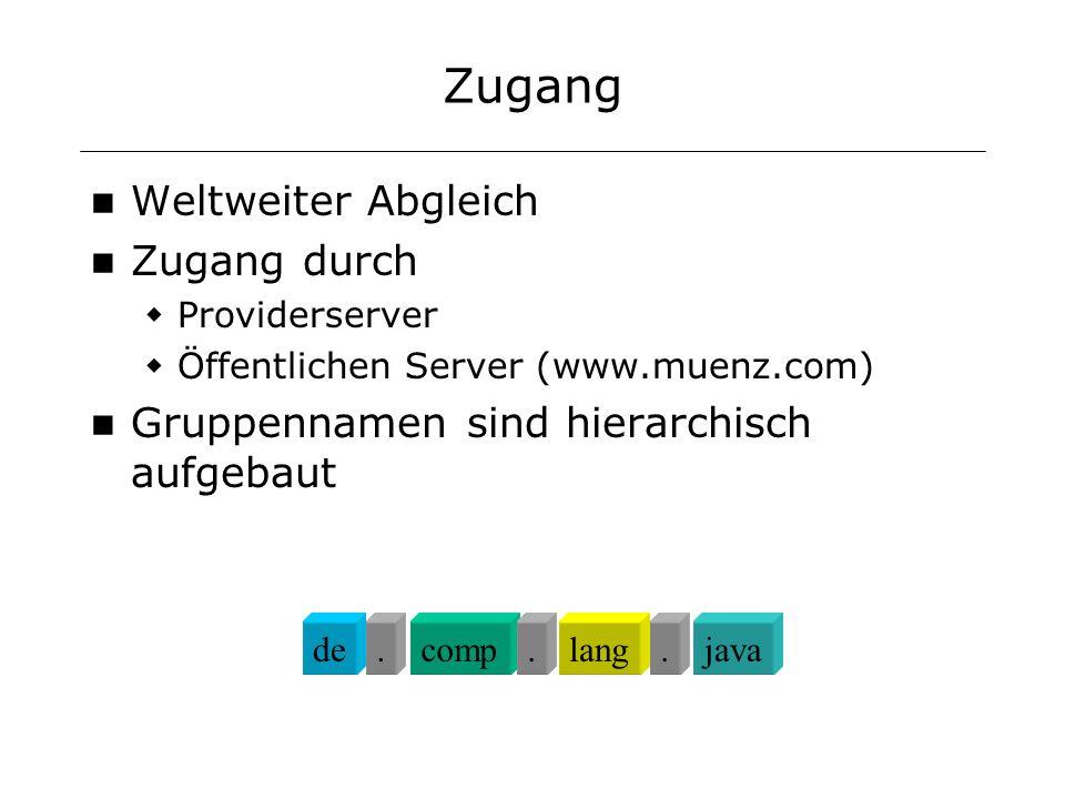 Zugang Weltweiter Abgleich Zugang durch Providerserver Öffentlichen Server (www.muenz.com) Gruppennamen sind hierarchisch aufgebaut decomplangjava...