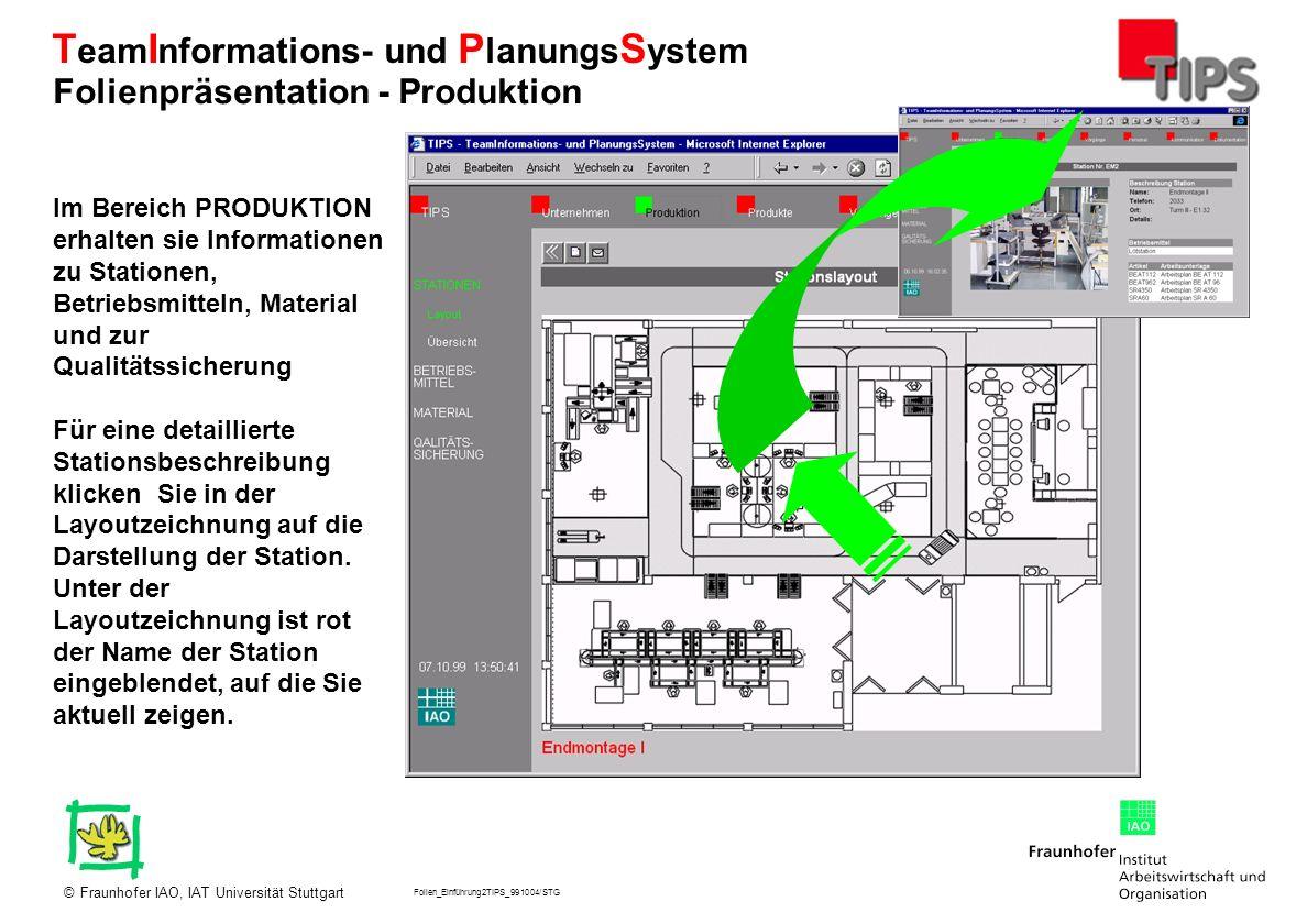 Folien_Einführung2TIPS_991004/STG Fraunhofer IAO, IAT Universität Stuttgart© T eam I nformations- und P lanungs S ystem Im Bereich PRODUKTION erhalten