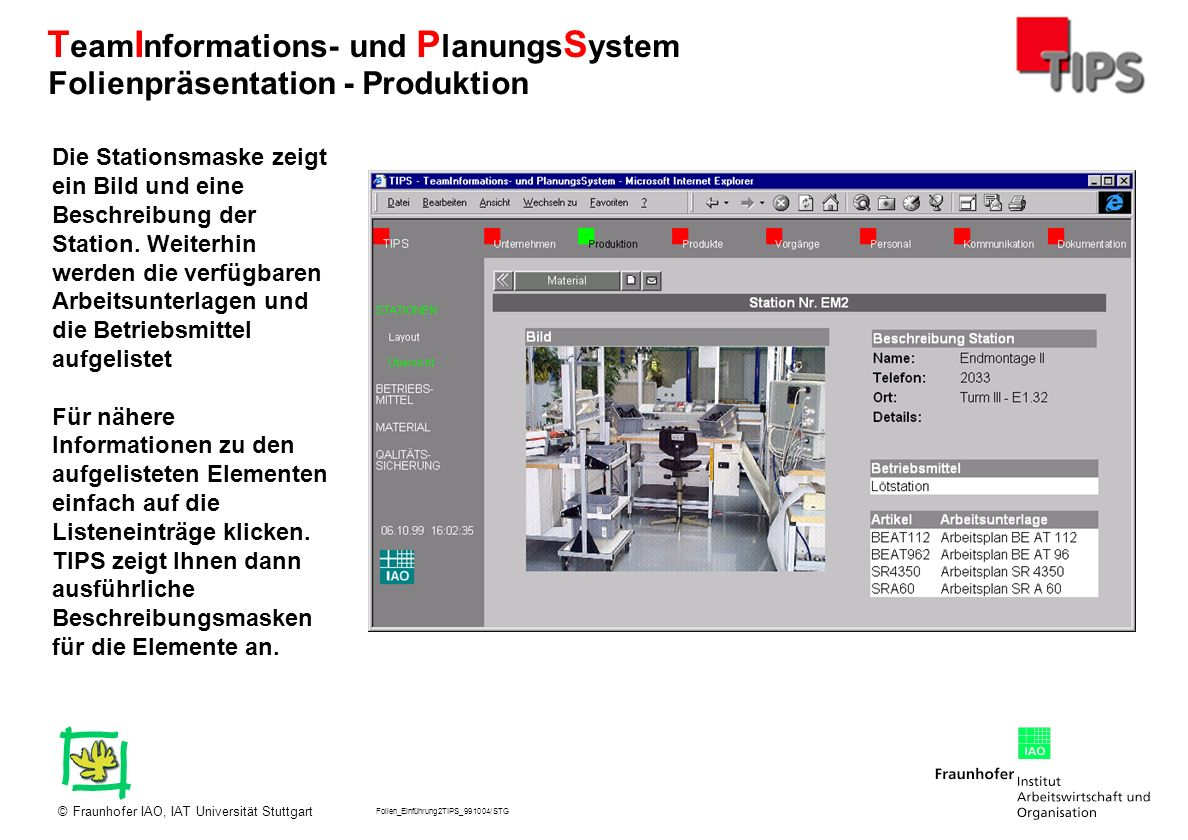 Folien_Einführung2TIPS_991004/STG Fraunhofer IAO, IAT Universität Stuttgart© T eam I nformations- und P lanungs S ystem Die Stationsmaske zeigt ein Bi