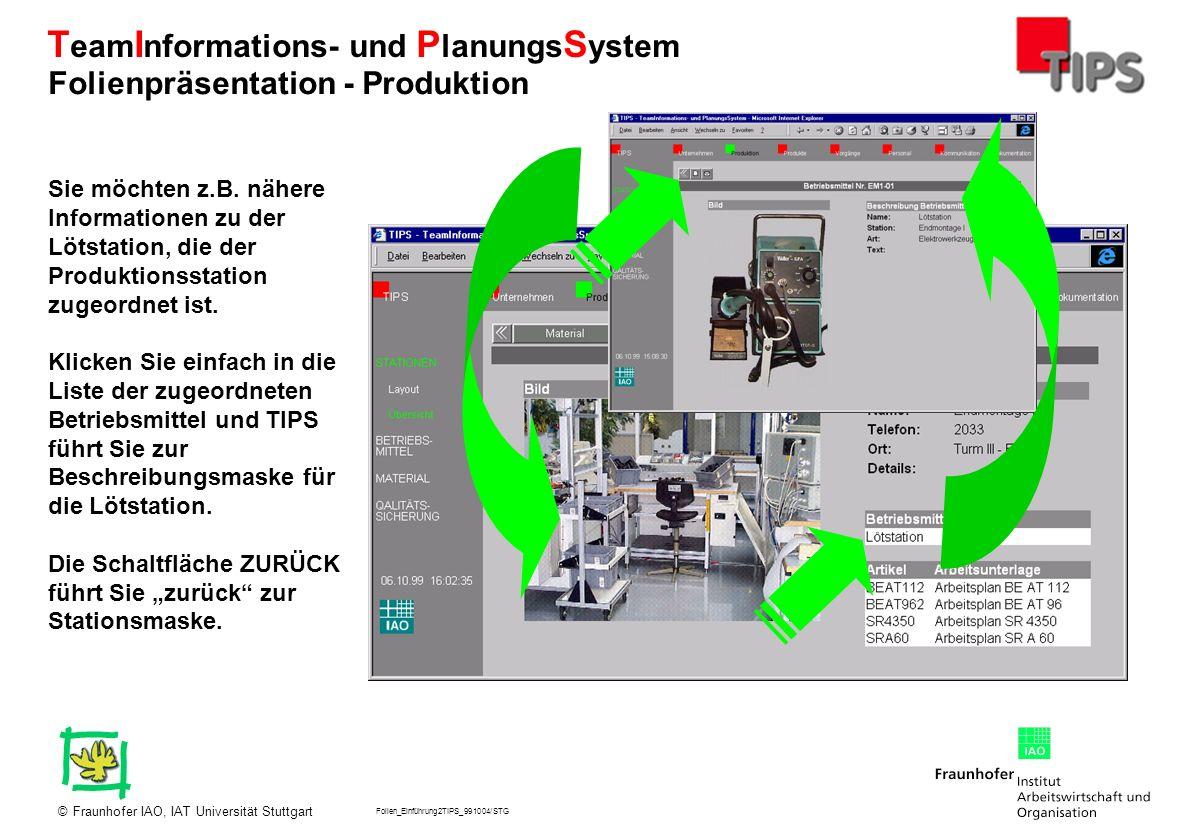 Folien_Einführung2TIPS_991004/STG Fraunhofer IAO, IAT Universität Stuttgart© T eam I nformations- und P lanungs S ystem Sie möchten z.B. nähere Inform