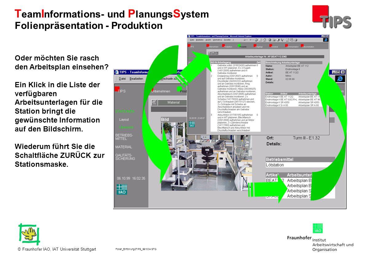 Folien_Einführung2TIPS_991004/STG Fraunhofer IAO, IAT Universität Stuttgart© T eam I nformations- und P lanungs S ystem Oder möchten Sie rasch den Arb