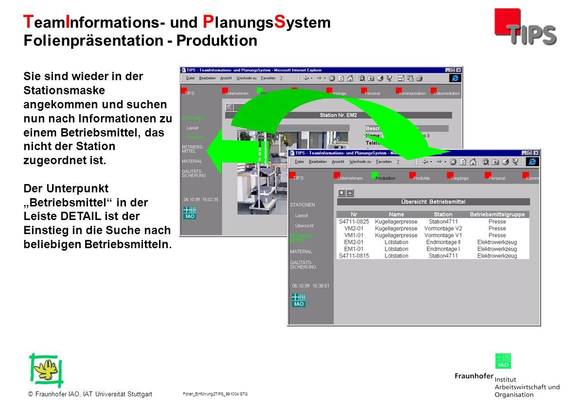Folien_Einführung2TIPS_991004/STG Fraunhofer IAO, IAT Universität Stuttgart© T eam I nformations- und P lanungs S ystem Sie sind wieder in der Station