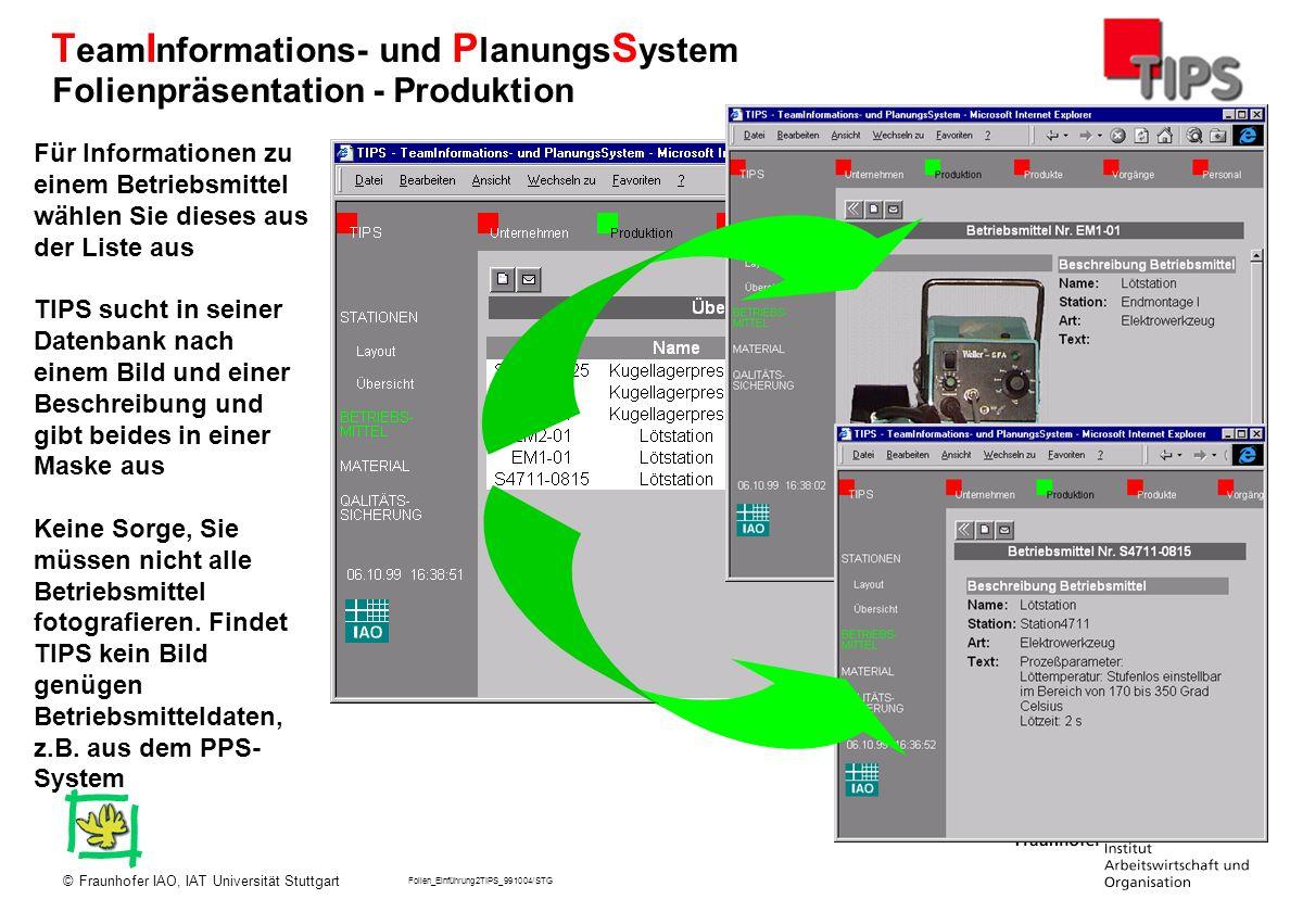 Folien_Einführung2TIPS_991004/STG Fraunhofer IAO, IAT Universität Stuttgart© T eam I nformations- und P lanungs S ystem Für Informationen zu einem Bet