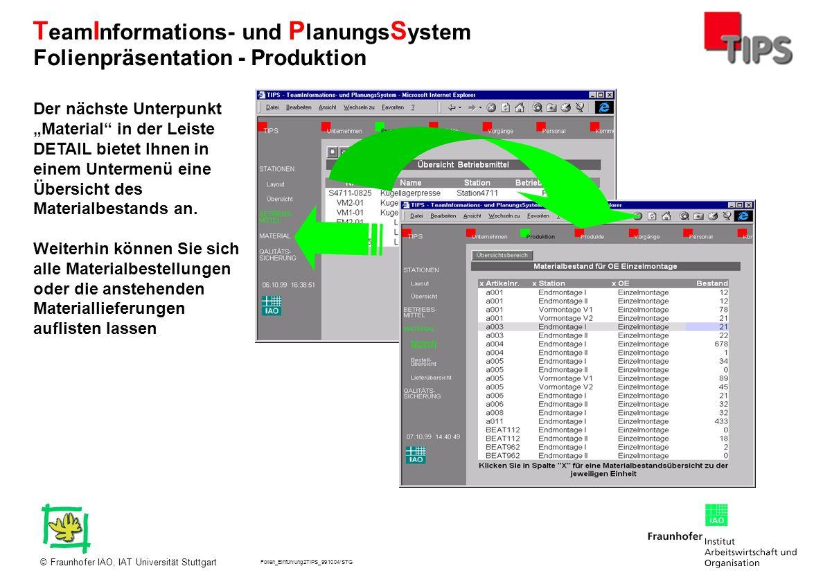 Folien_Einführung2TIPS_991004/STG Fraunhofer IAO, IAT Universität Stuttgart© T eam I nformations- und P lanungs S ystem Der nächste Unterpunkt Materia
