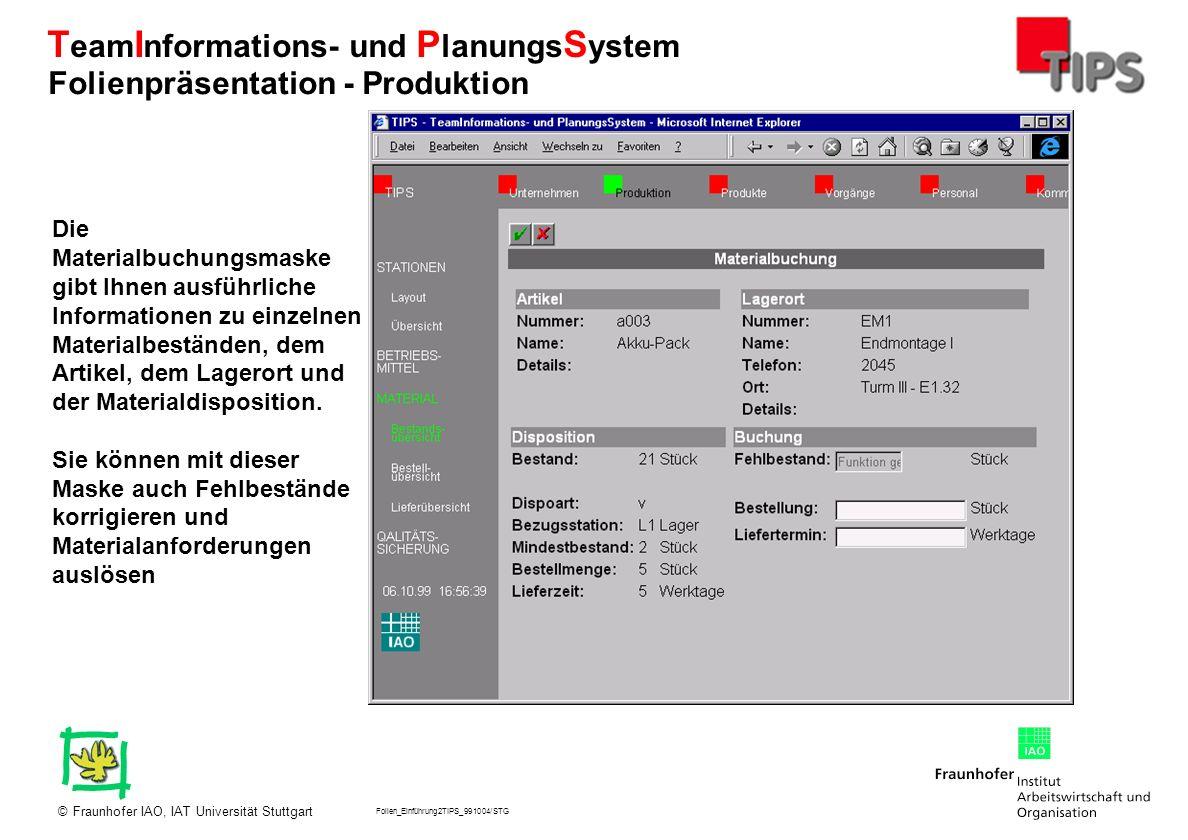 Folien_Einführung2TIPS_991004/STG Fraunhofer IAO, IAT Universität Stuttgart© T eam I nformations- und P lanungs S ystem Die Materialbuchungsmaske gibt
