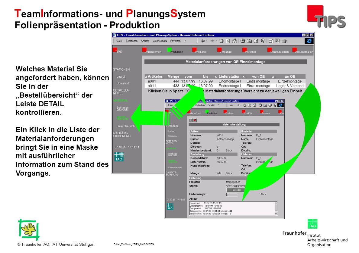 Folien_Einführung2TIPS_991004/STG Fraunhofer IAO, IAT Universität Stuttgart© T eam I nformations- und P lanungs S ystem Welches Material Sie angeforde