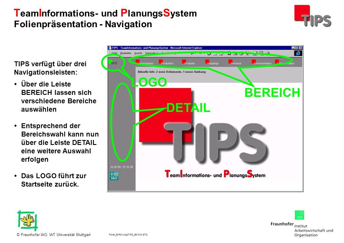Folien_Einführung2TIPS_991004/STG Fraunhofer IAO, IAT Universität Stuttgart© T eam I nformations- und P lanungs S ystem Klicken auf die Vorgangs- nummer in der Übersicht oder dem Ablauf führt zu einer Maske mit einer ausführlichen Beschreibung des Vorgangs und dessen Stand.