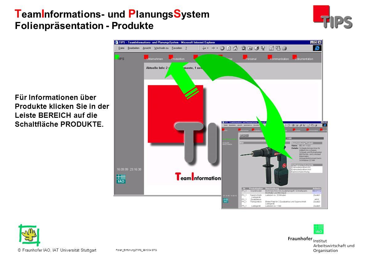 Folien_Einführung2TIPS_991004/STG Fraunhofer IAO, IAT Universität Stuttgart© T eam I nformations- und P lanungs S ystem Für Informationen über Produkt