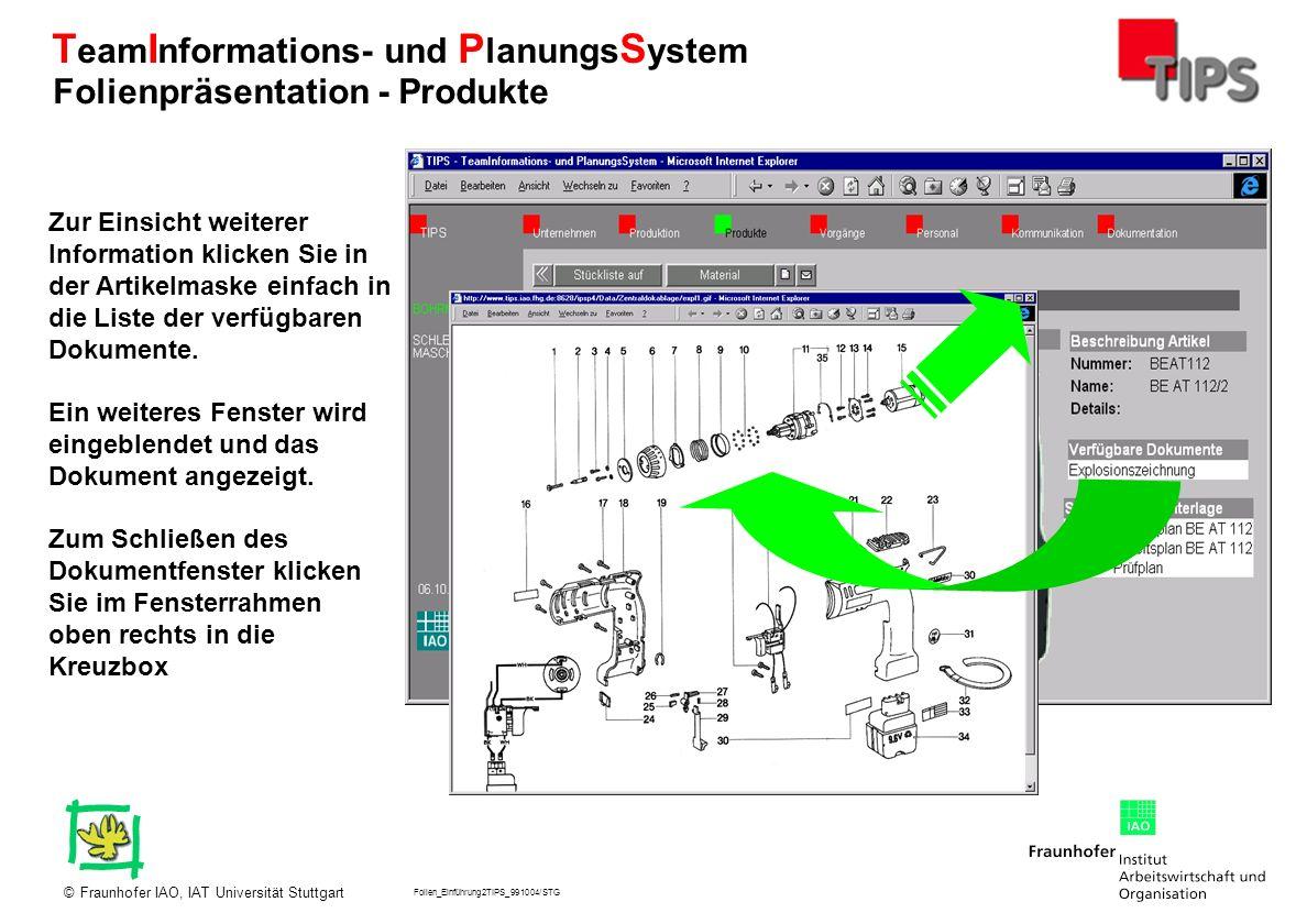 Folien_Einführung2TIPS_991004/STG Fraunhofer IAO, IAT Universität Stuttgart© T eam I nformations- und P lanungs S ystem Zur Einsicht weiterer Informat