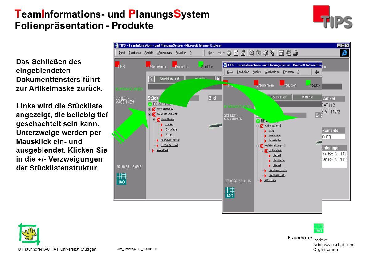 Folien_Einführung2TIPS_991004/STG Fraunhofer IAO, IAT Universität Stuttgart© T eam I nformations- und P lanungs S ystem Das Schließen des eingeblendet