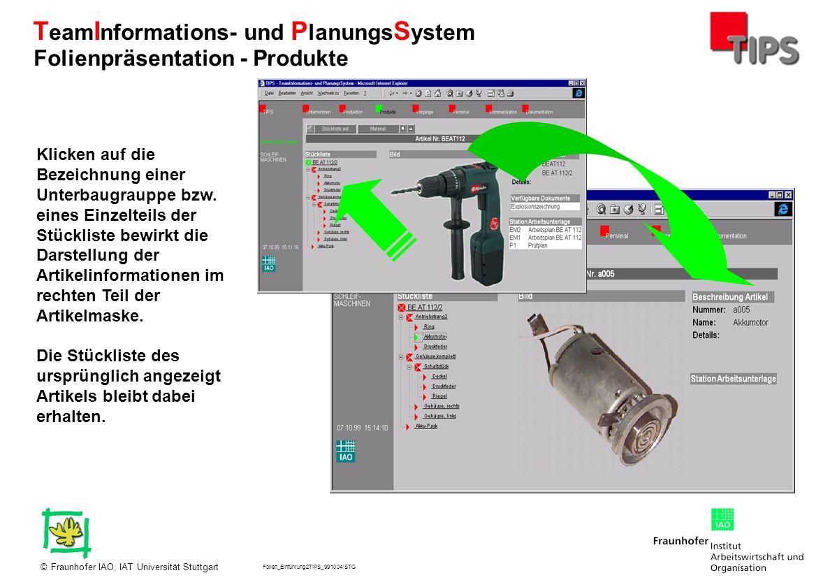 Folien_Einführung2TIPS_991004/STG Fraunhofer IAO, IAT Universität Stuttgart© T eam I nformations- und P lanungs S ystem Klicken auf die Bezeichnung ei