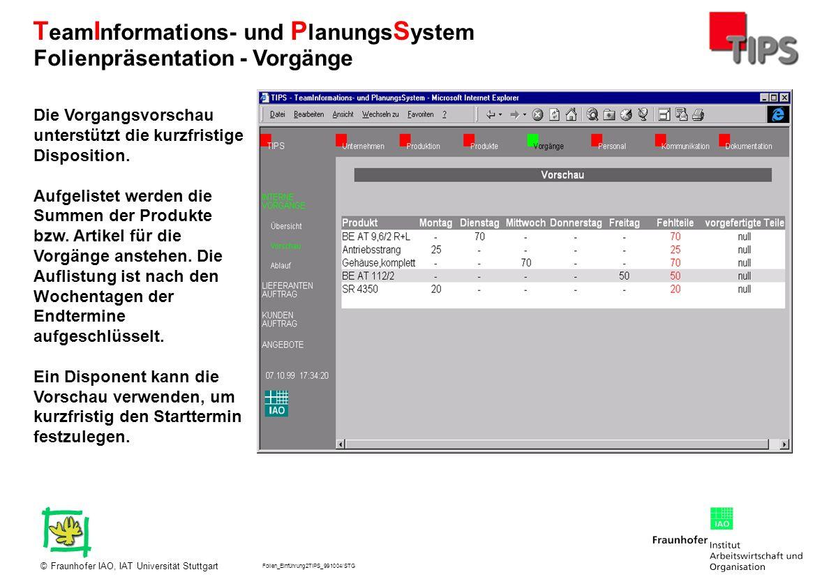 Folien_Einführung2TIPS_991004/STG Fraunhofer IAO, IAT Universität Stuttgart© T eam I nformations- und P lanungs S ystem Die Vorgangsvorschau unterstüt