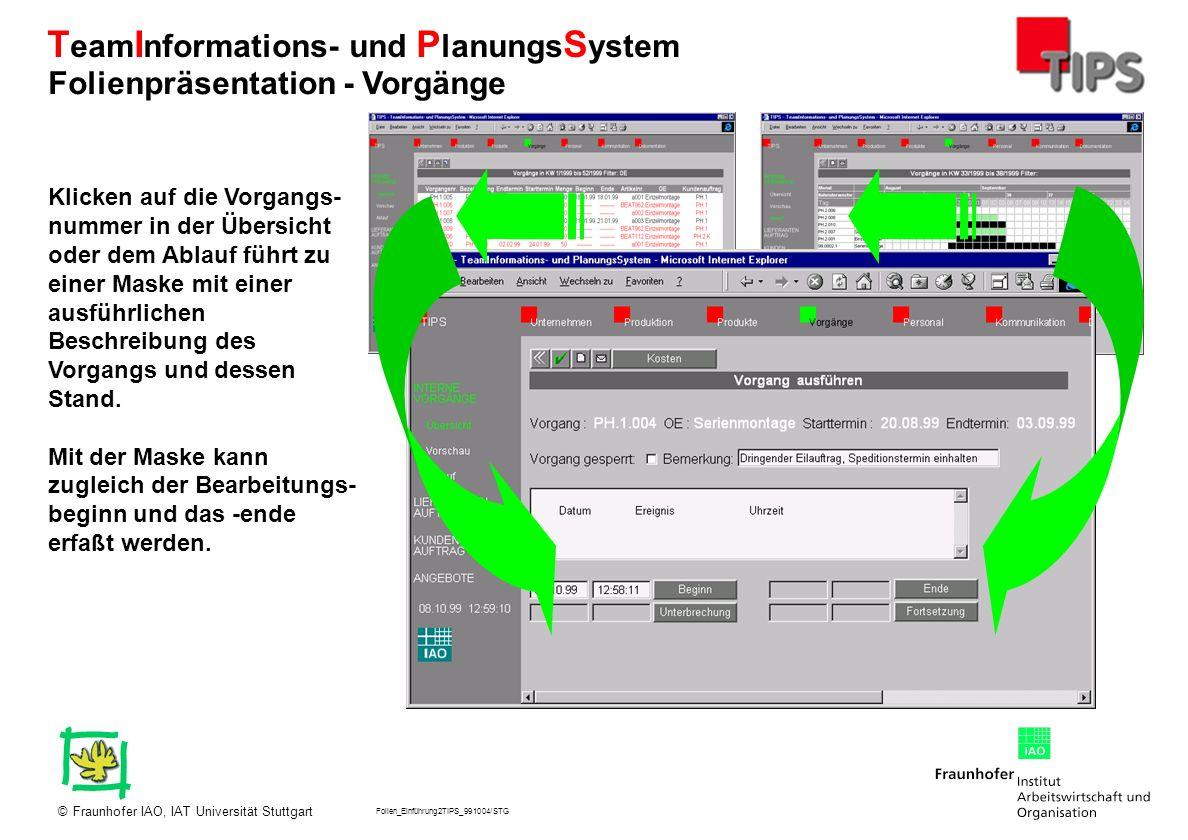 Folien_Einführung2TIPS_991004/STG Fraunhofer IAO, IAT Universität Stuttgart© T eam I nformations- und P lanungs S ystem Klicken auf die Vorgangs- numm