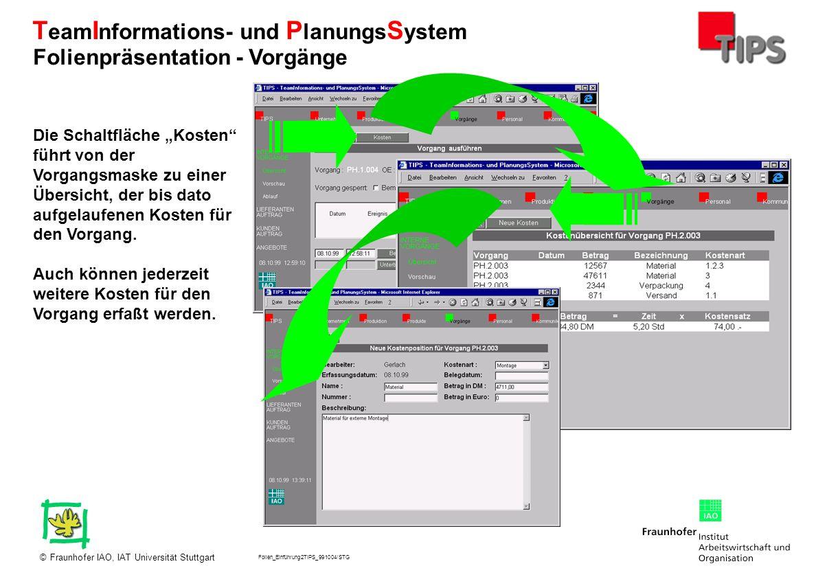 Folien_Einführung2TIPS_991004/STG Fraunhofer IAO, IAT Universität Stuttgart© T eam I nformations- und P lanungs S ystem Die Schaltfläche Kosten führt