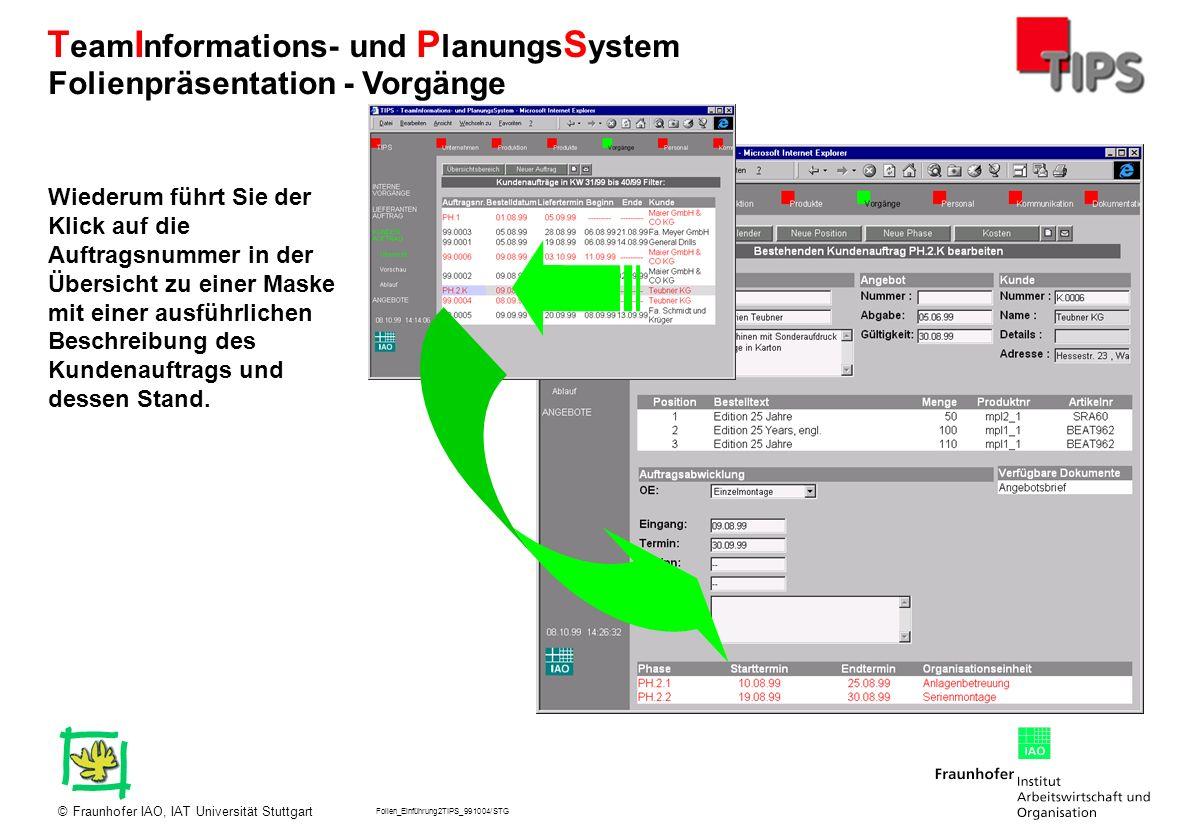 Folien_Einführung2TIPS_991004/STG Fraunhofer IAO, IAT Universität Stuttgart© T eam I nformations- und P lanungs S ystem Wiederum führt Sie der Klick a