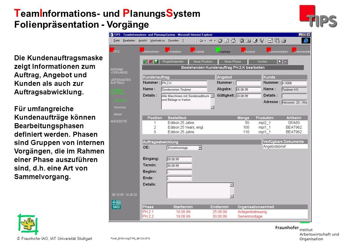 Folien_Einführung2TIPS_991004/STG Fraunhofer IAO, IAT Universität Stuttgart© T eam I nformations- und P lanungs S ystem Die Kundenauftragsmaske zeigt