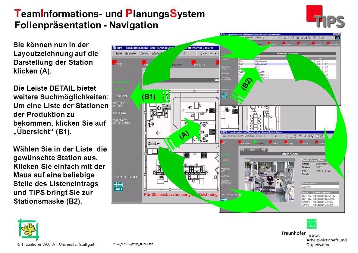 Folien_Einführung2TIPS_991004/STG Fraunhofer IAO, IAT Universität Stuttgart© T eam I nformations- und P lanungs S ystem Nun haben Sie das Fenster mit den Informationen zur Endmontage II geöffnet.