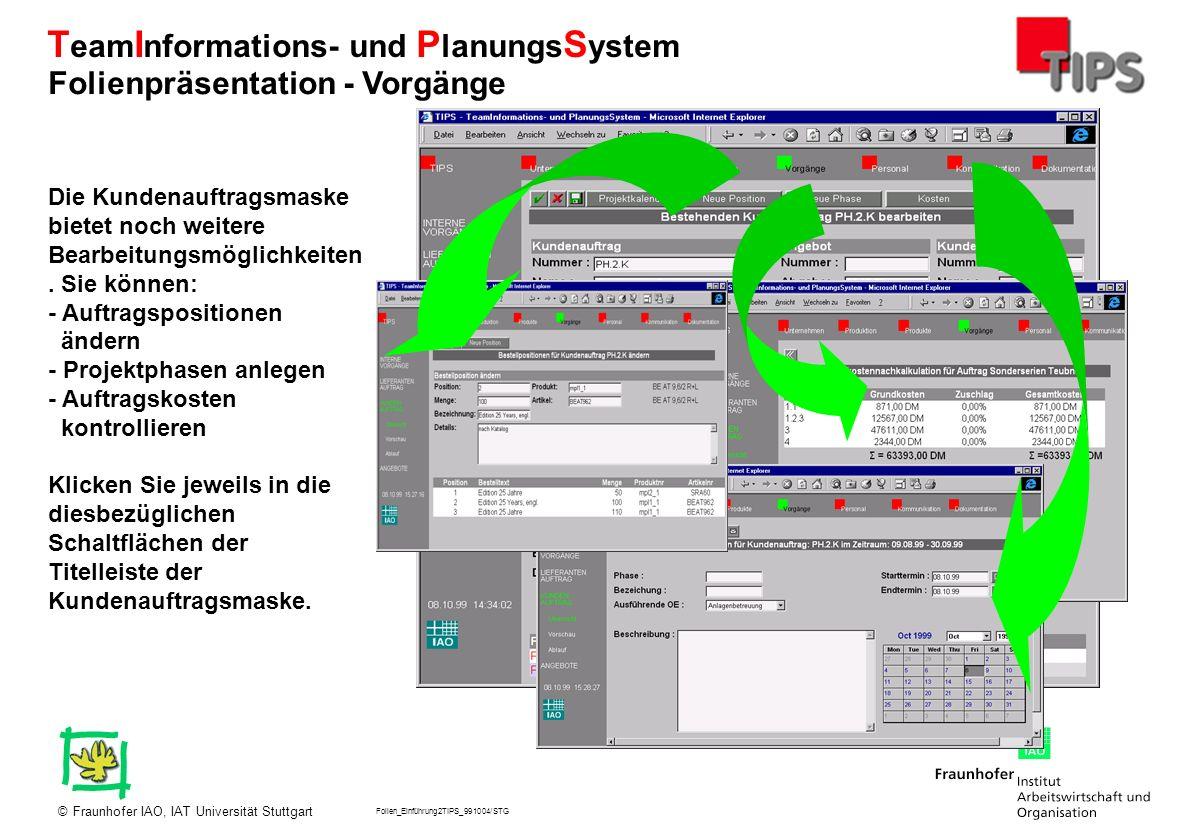 Folien_Einführung2TIPS_991004/STG Fraunhofer IAO, IAT Universität Stuttgart© T eam I nformations- und P lanungs S ystem Die Kundenauftragsmaske bietet