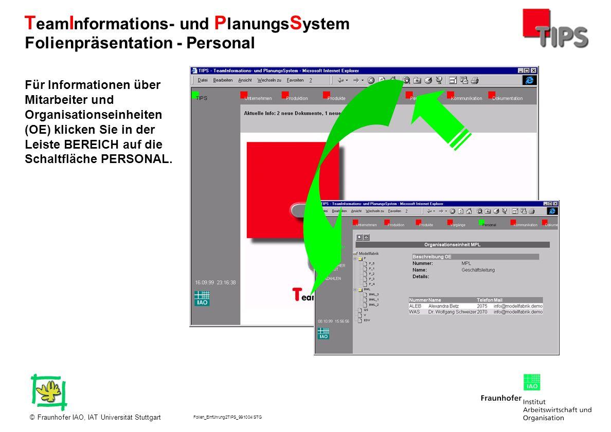 Folien_Einführung2TIPS_991004/STG Fraunhofer IAO, IAT Universität Stuttgart© T eam I nformations- und P lanungs S ystem Für Informationen über Mitarbe
