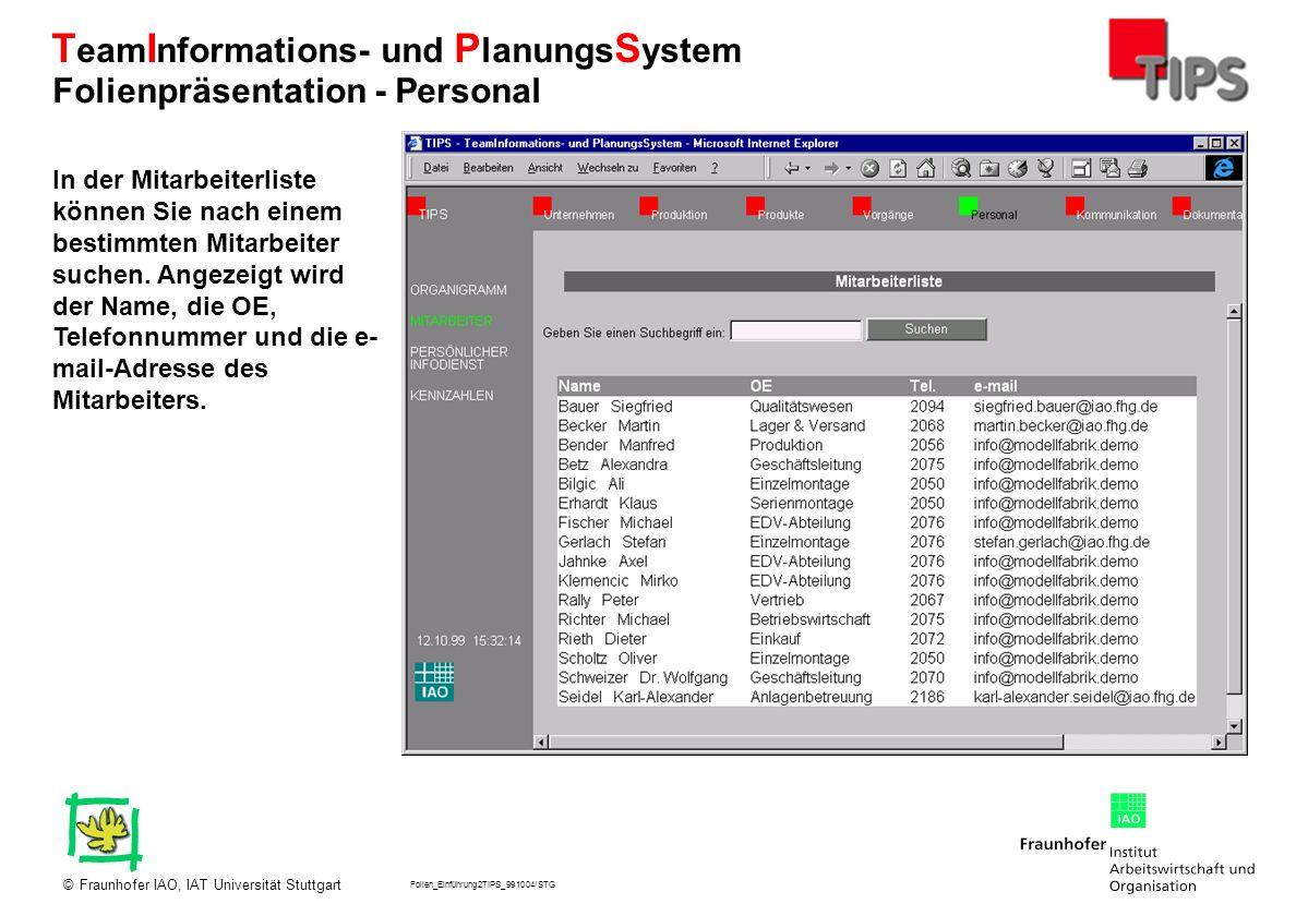 Folien_Einführung2TIPS_991004/STG Fraunhofer IAO, IAT Universität Stuttgart© T eam I nformations- und P lanungs S ystem In der Mitarbeiterliste können
