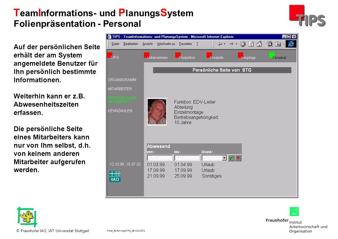 Folien_Einführung2TIPS_991004/STG Fraunhofer IAO, IAT Universität Stuttgart© T eam I nformations- und P lanungs S ystem Auf der persönlichen Seite erh