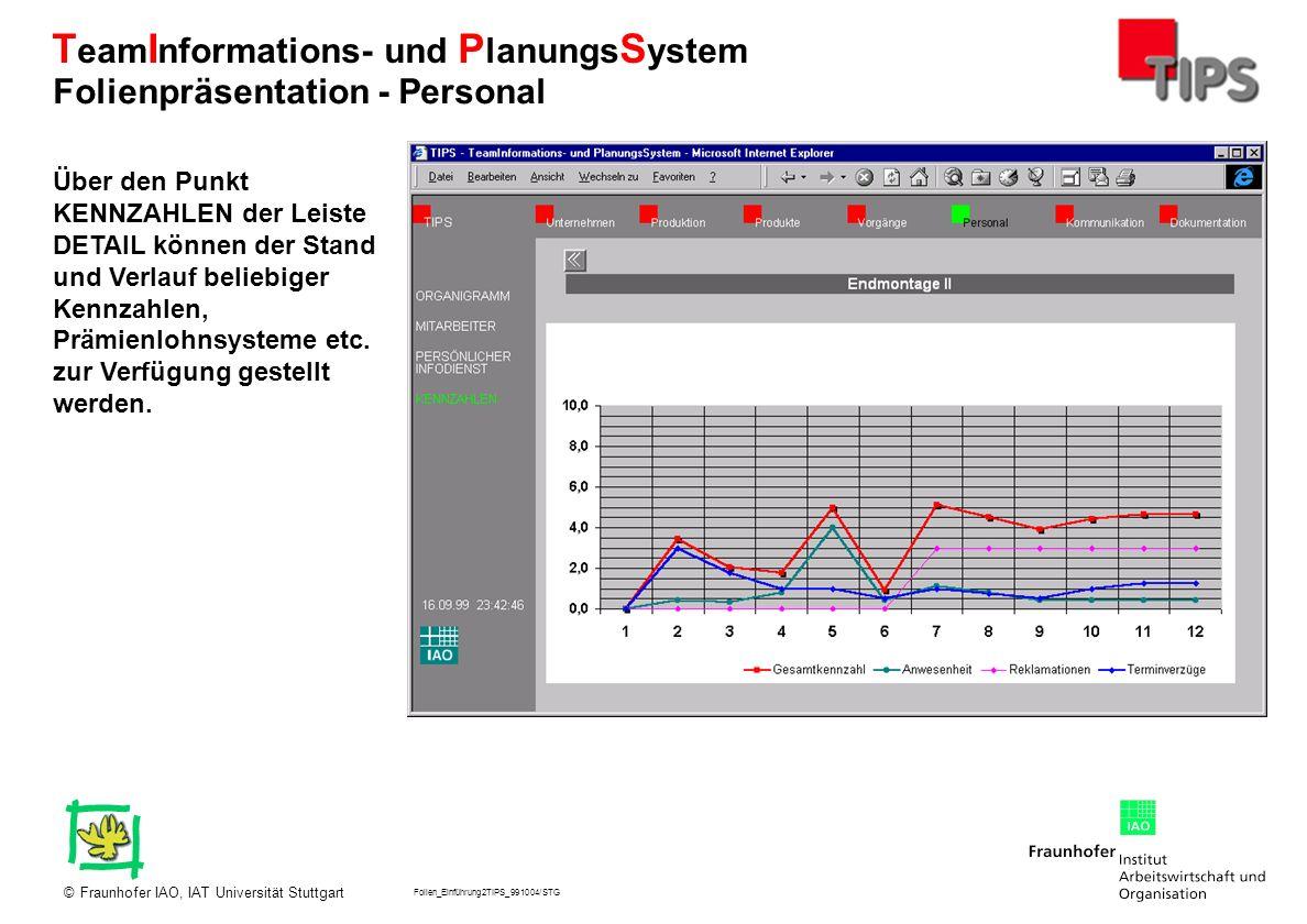 Folien_Einführung2TIPS_991004/STG Fraunhofer IAO, IAT Universität Stuttgart© T eam I nformations- und P lanungs S ystem Über den Punkt KENNZAHLEN der