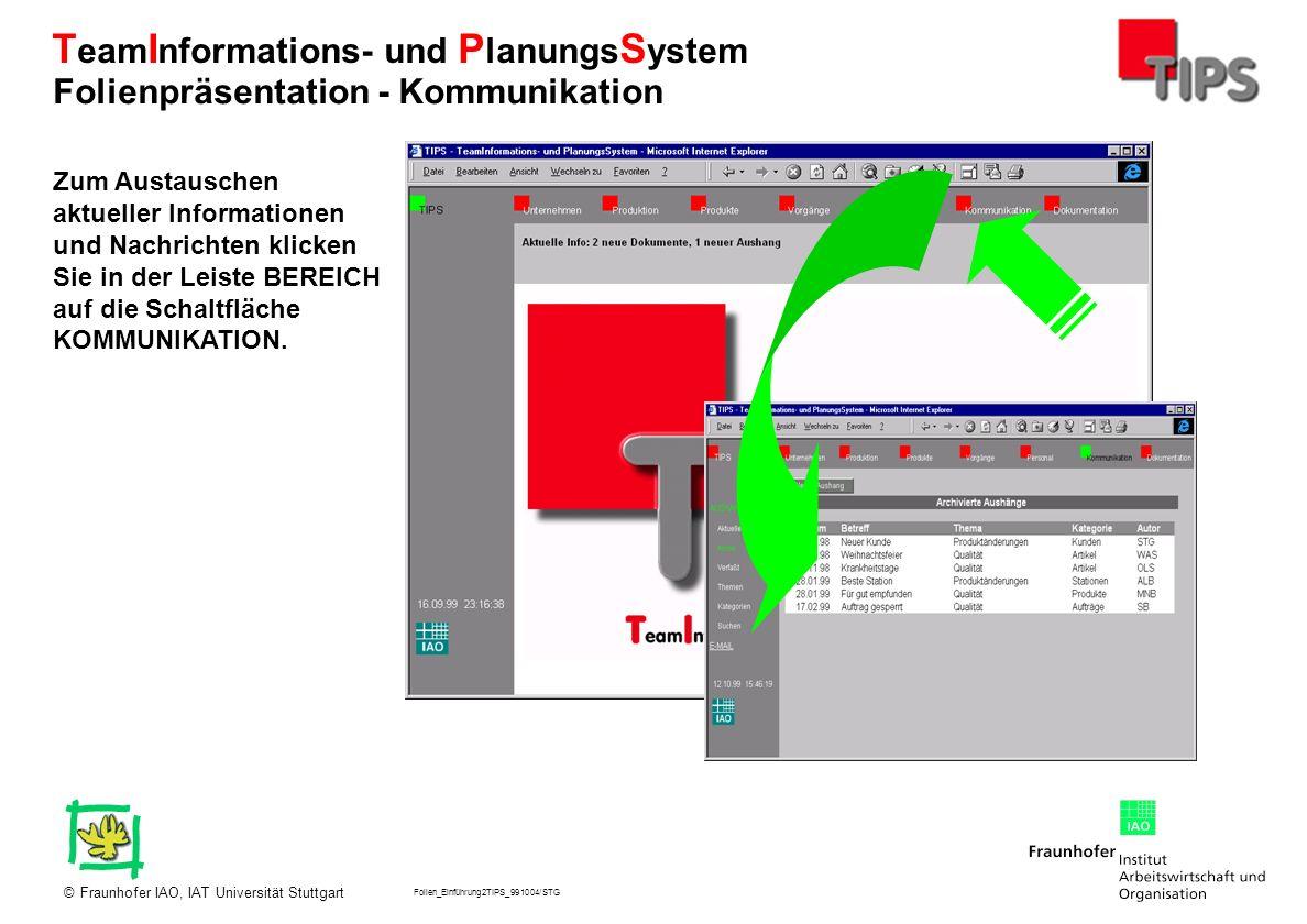 Folien_Einführung2TIPS_991004/STG Fraunhofer IAO, IAT Universität Stuttgart© T eam I nformations- und P lanungs S ystem Zum Austauschen aktueller Info