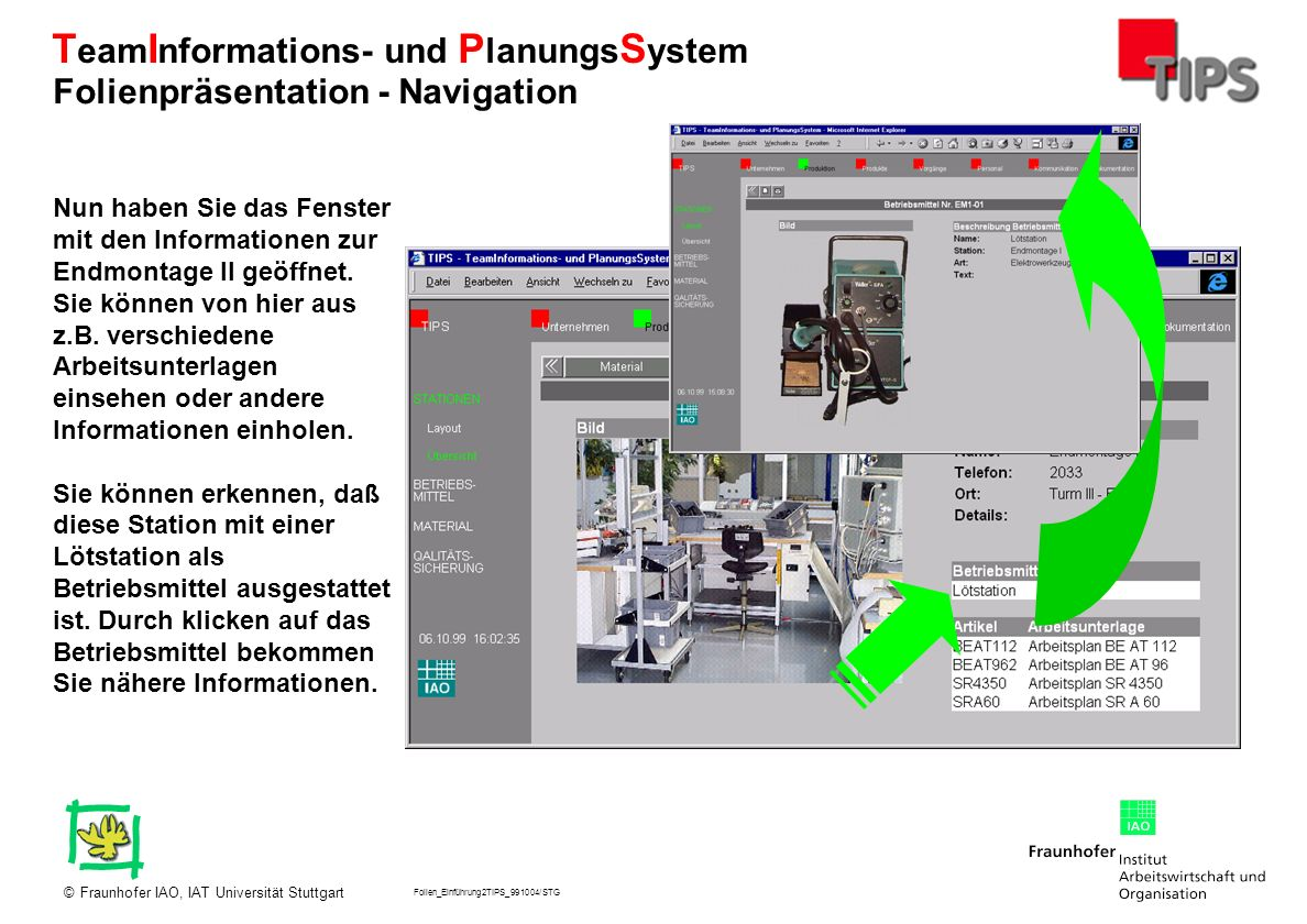 Folien_Einführung2TIPS_991004/STG Fraunhofer IAO, IAT Universität Stuttgart© T eam I nformations- und P lanungs S ystem Hier erkennen Sie alle wichtigen Informationen zur Lötstation.