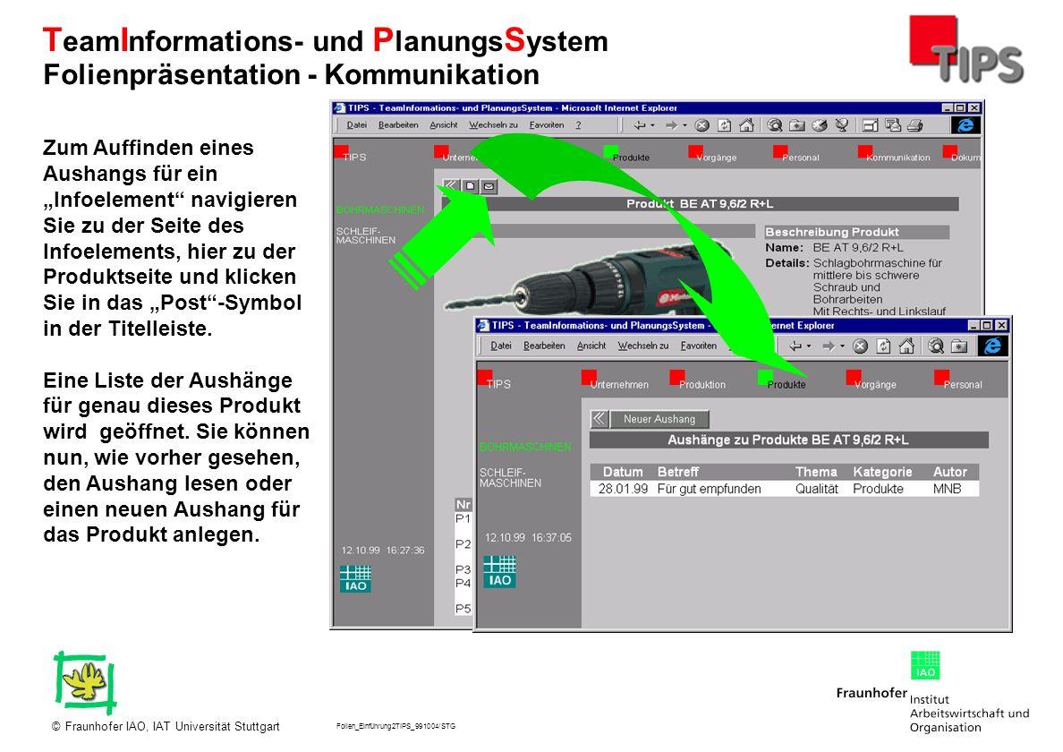 Folien_Einführung2TIPS_991004/STG Fraunhofer IAO, IAT Universität Stuttgart© T eam I nformations- und P lanungs S ystem Zum Auffinden eines Aushangs f