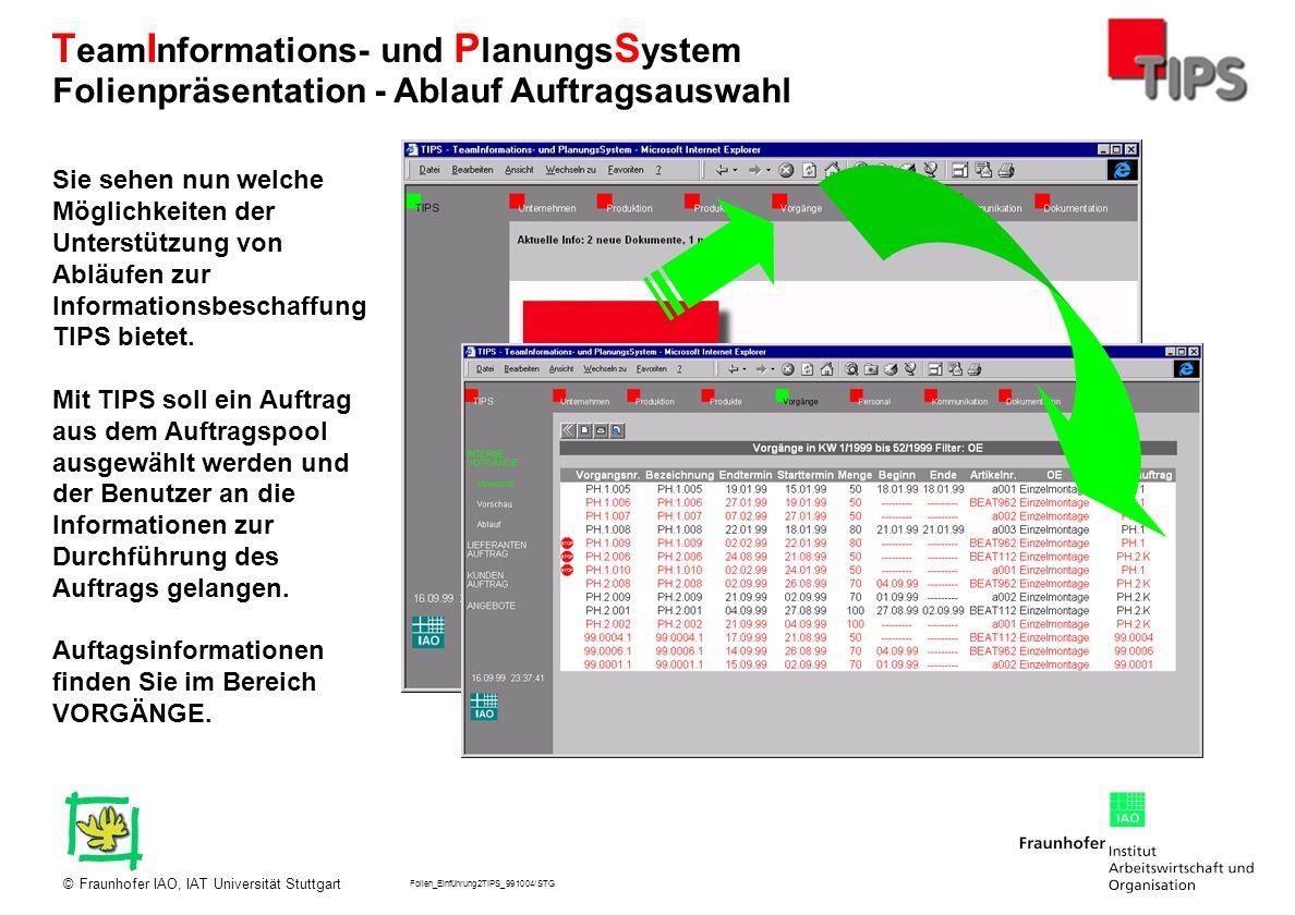 Folien_Einführung2TIPS_991004/STG Fraunhofer IAO, IAT Universität Stuttgart© T eam I nformations- und P lanungs S ystem Sie sehen nun welche Möglichke