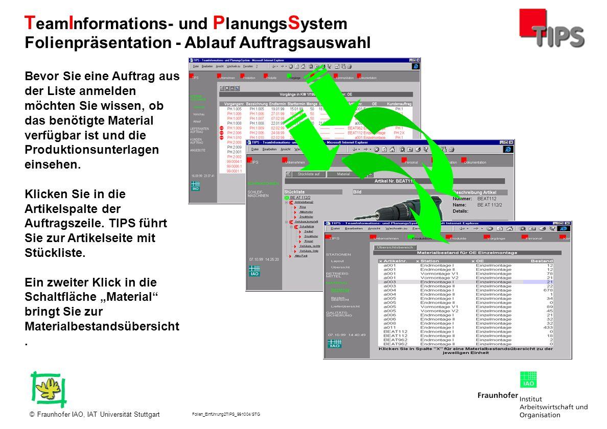 Folien_Einführung2TIPS_991004/STG Fraunhofer IAO, IAT Universität Stuttgart© T eam I nformations- und P lanungs S ystem Bevor Sie eine Auftrag aus der