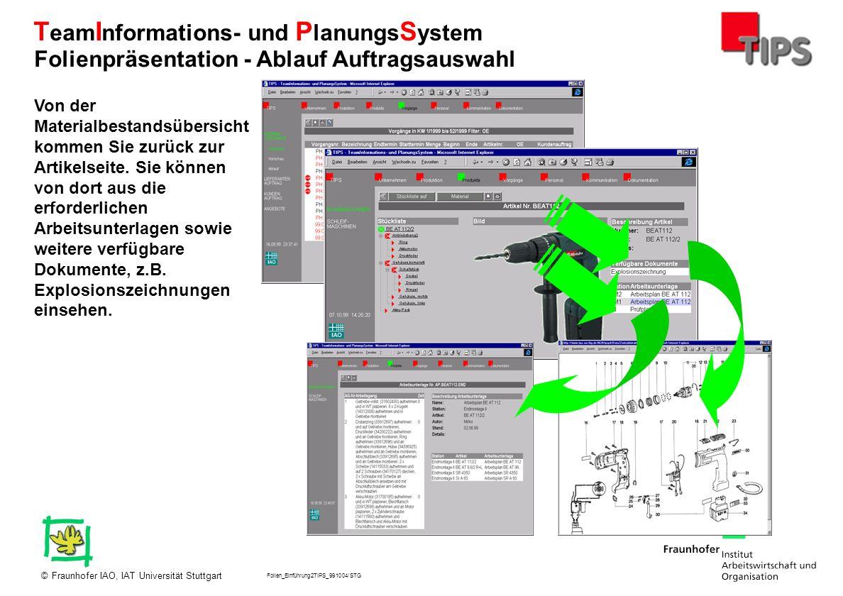 Folien_Einführung2TIPS_991004/STG Fraunhofer IAO, IAT Universität Stuttgart© T eam I nformations- und P lanungs S ystem Von der Materialbestandsübersi
