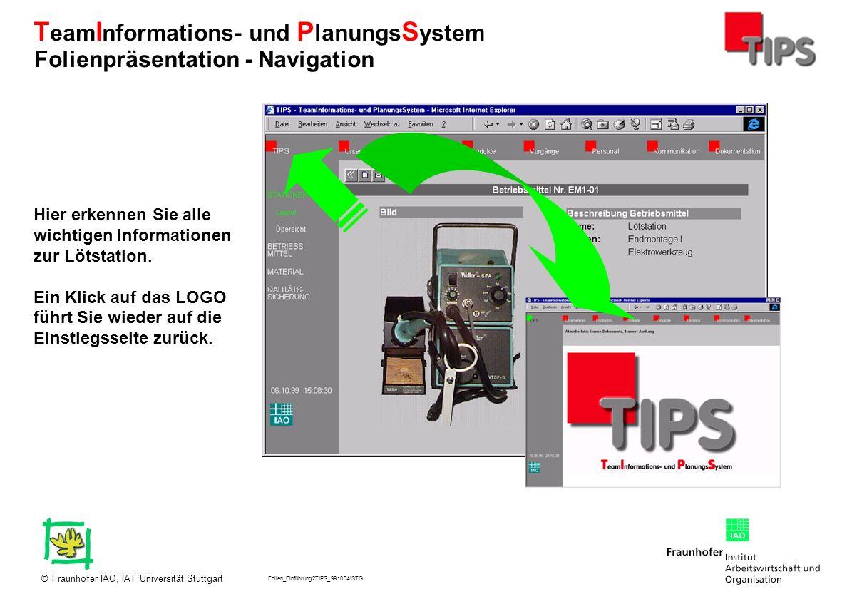 Folien_Einführung2TIPS_991004/STG Fraunhofer IAO, IAT Universität Stuttgart© T eam I nformations- und P lanungs S ystem Sie sehen nun welche Möglichkeiten der Unterstützung von Abläufen zur Informationsbeschaffung TIPS bietet.