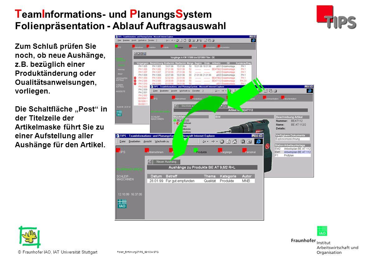 Folien_Einführung2TIPS_991004/STG Fraunhofer IAO, IAT Universität Stuttgart© T eam I nformations- und P lanungs S ystem Zum Schluß prüfen Sie noch, ob