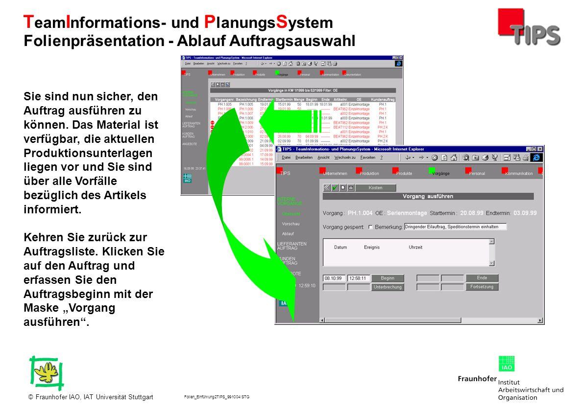 Folien_Einführung2TIPS_991004/STG Fraunhofer IAO, IAT Universität Stuttgart© T eam I nformations- und P lanungs S ystem Sie sind nun sicher, den Auftr